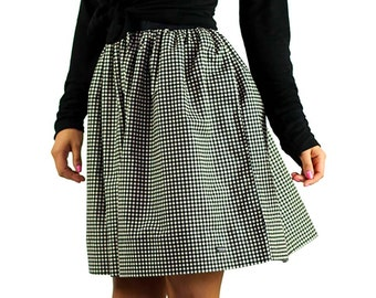7e11dc723 FOXERS Plaid Flannel Gathered Circle SKIRT with POCKETS | Black and White  Checkered Skirt