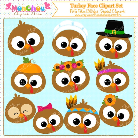 Turkey Face Clipart Set For Commercial And Personal Use Etsy