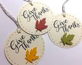 Give Thanks Gift Tags, Wine Bottle Tags, Thanksgiving Tags