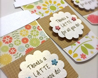 Thanks a Latte FLORAL Gift Card Holder - Coffee Gift Card Holder