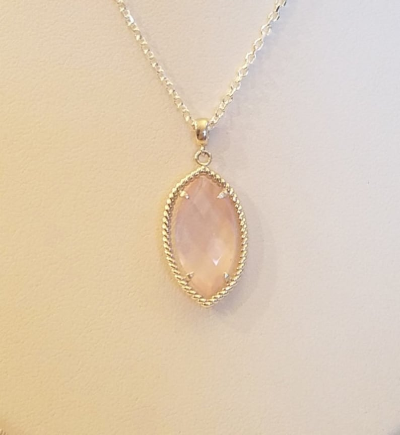 Beautiful NEW 2x Sided Marquise Rose Quartz Pendant in Unique Sterling Silver Rope Frame Setting