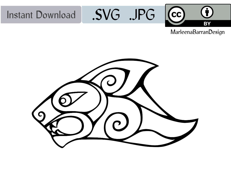 Diseño de León gráfico de Vector de una tinta de León dibujo | Etsy