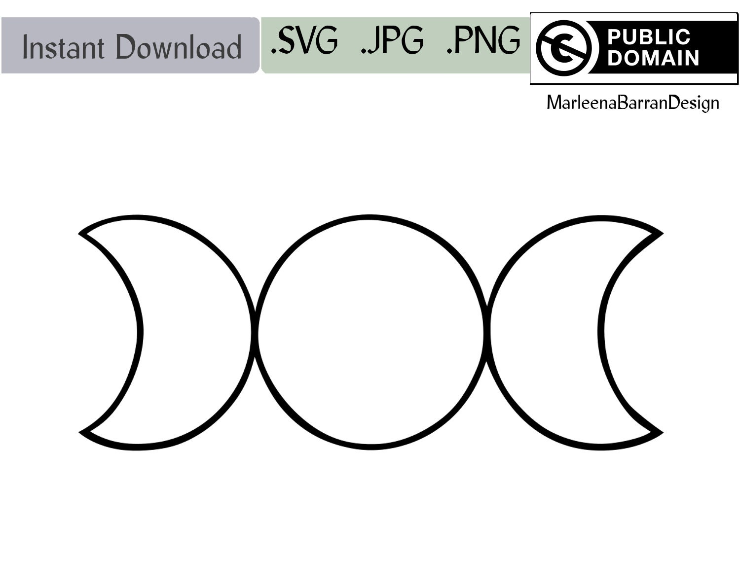 Geometrical Triple Moon Symbol Instant Download Clipart Svg Etsy