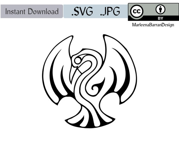 Phoenix Black And White Ink Drawing Royalty Free Svg Vector Etsy