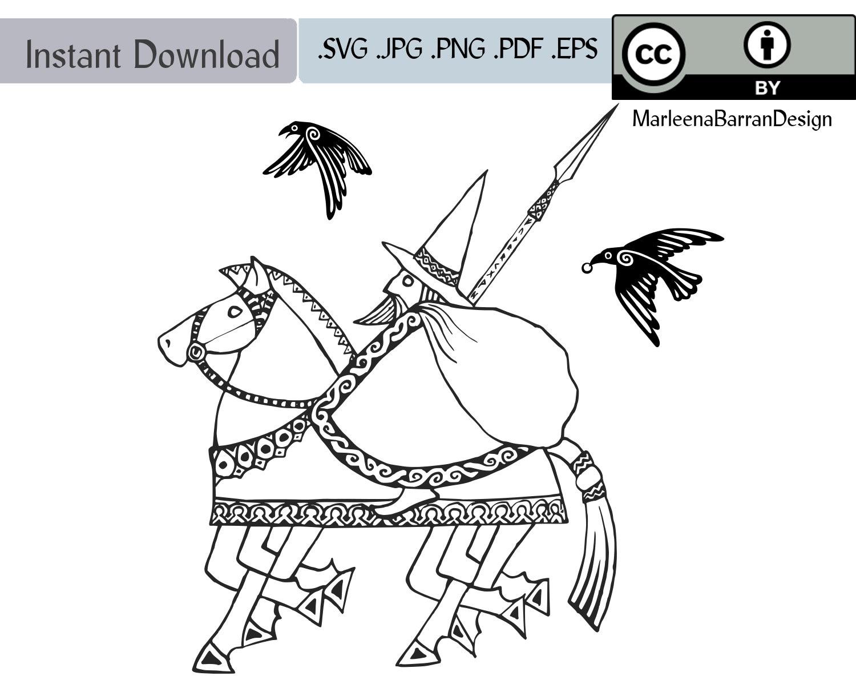 Yule Father The Viking God Odin on his horse Sleipnir | Etsy
