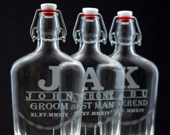 Wedding Party gifts of Custom Glass Flasks with Large inital and name (set of 3),Groomsmen gift, father of the groom gift,best man gift