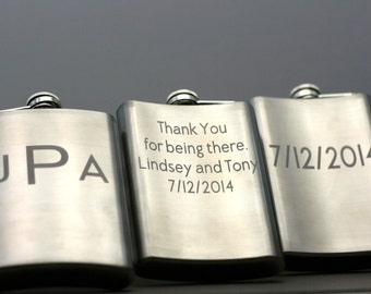 Single Personalized Double Sided Flask Stainless Steel ,Groomsmen gift, father of the groom gift,best man gift