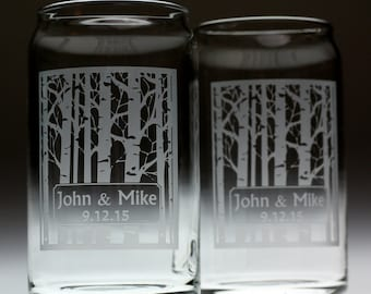 Newlywed Couple Gift Birch trees with label(set of 2), wedding gift, couple gift, bride and groom gift, newlywed gift,gay wedding,same sex