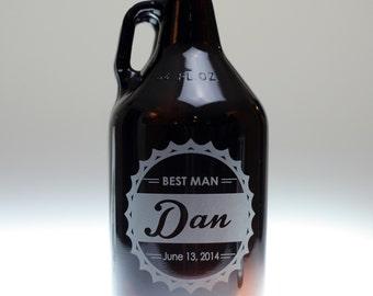 Personalized Custom engraved Bottle cap theme groomsman Beer Growler,best man,groomsman,father of the bride,usher,minister,groom,