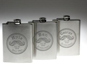 Custom groomsman flask with Mustache seal art base(set of 3-8) Stainless Steel 8oz,Groomsmen gift,best man,groomsmen flask,groom gift