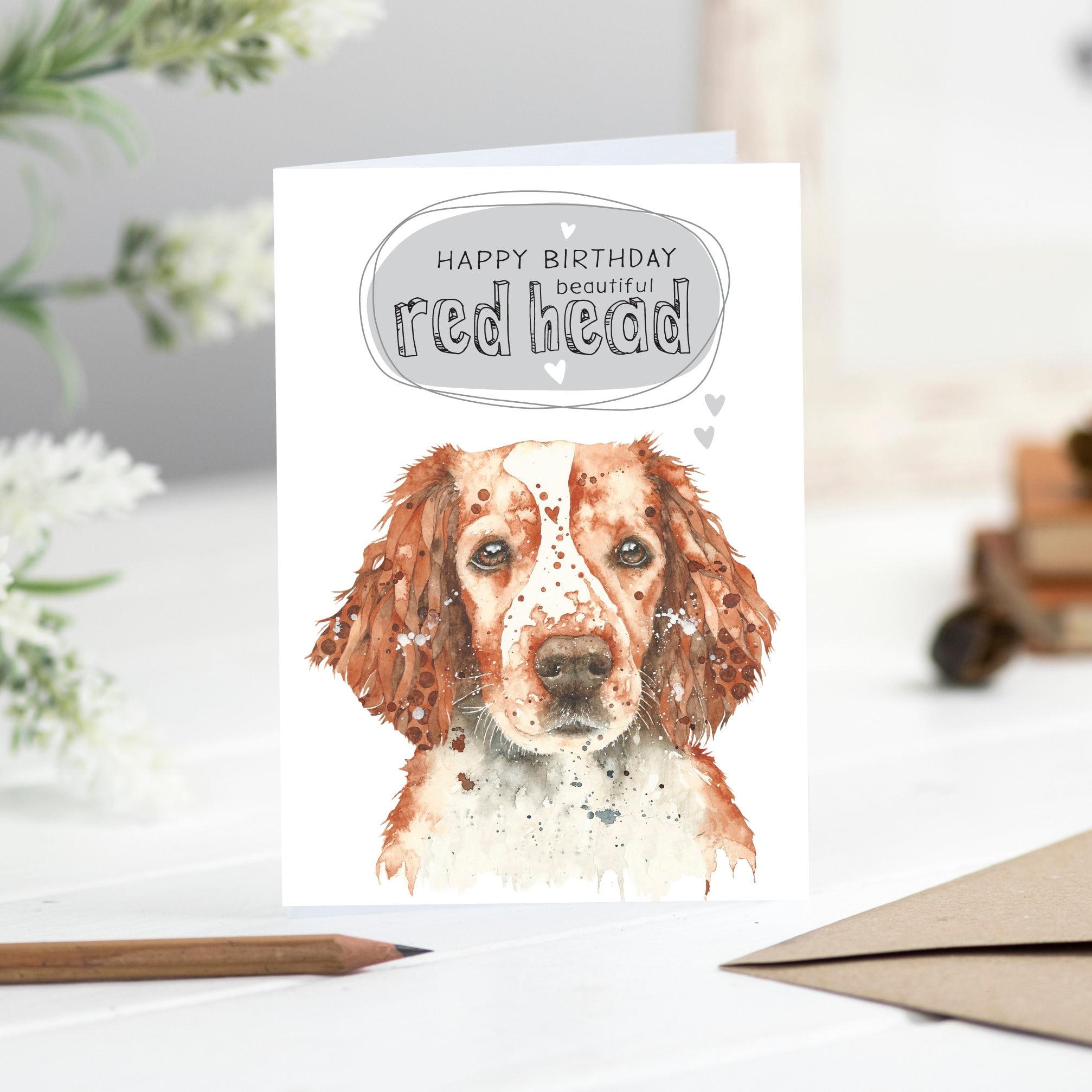 Birthday Dog Card Welsh Spaniel Red Head