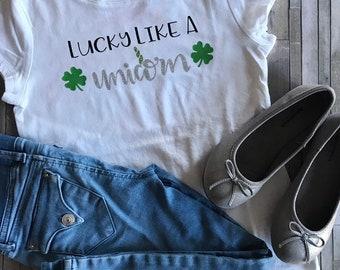 3e1e36774fc02 White Girl's Lucky Like a Unicorn Shirt, Girl's St Patricks Day Shirt,  Girl's Shamrock Shirt, Girl's Unicorn Shirt