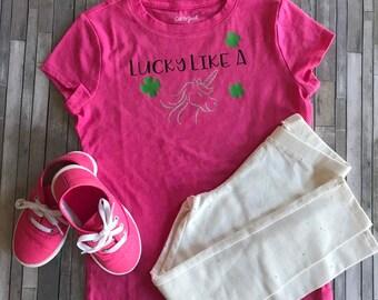 d7d89fd2fdc68 Pink Girl's Lucky Like a Unicorn Shirt, Girl's St Patricks Day Shirt,  Girl's Shamrock Shirt, Girl's Unicorn Shirt