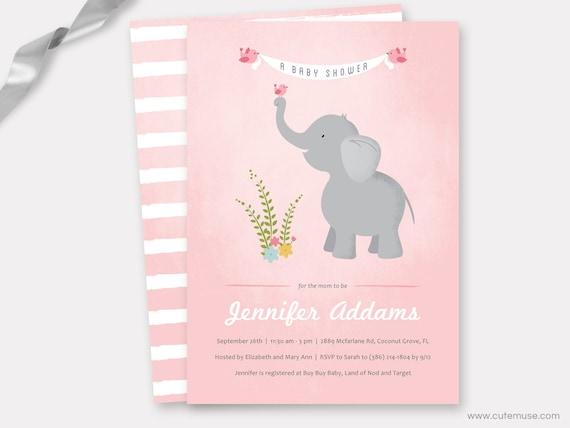 elephant baby shower invitation printable girl baby shower