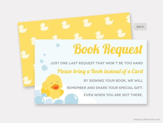 picture about Rubber Duck Printable identify Rubber Duck E book Ask Card, Child Shower Printable, Rubber