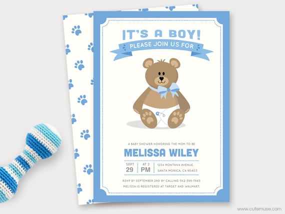 picture about Printable Baby Shower Invitations Boy named Boy Teddy Go through Youngster Shower Invitation Printable, Boy or girl Shower