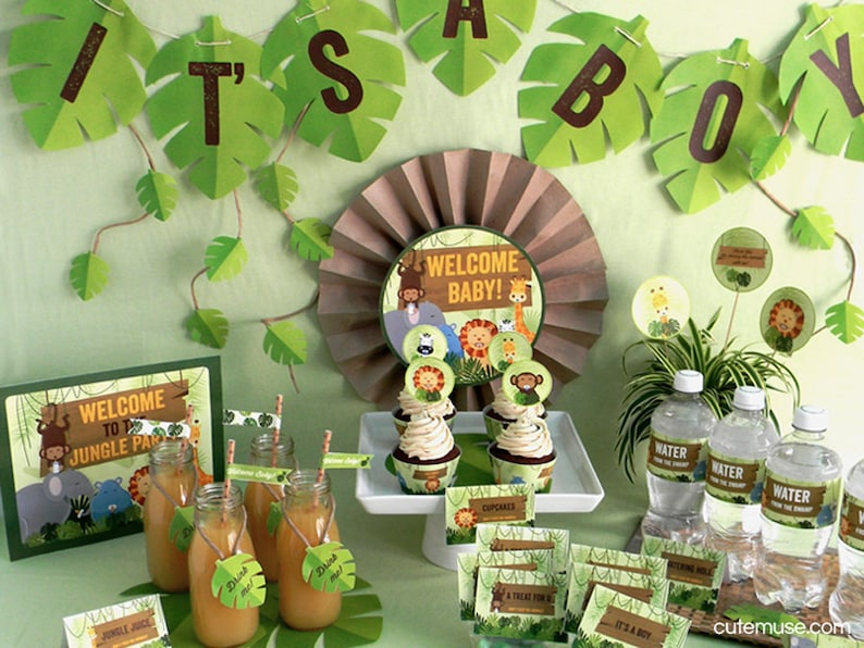 Jungle Safari Theme Baby Shower Printable Party Package Etsy