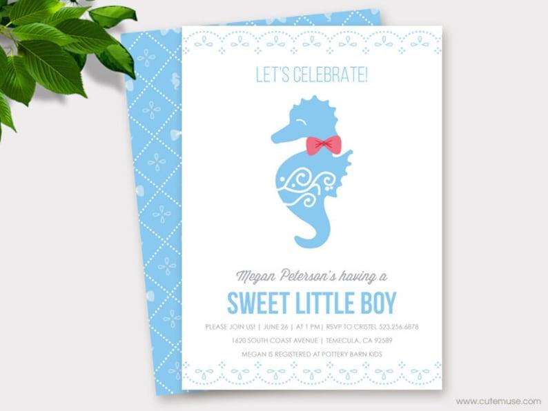 Seahorse Baby Shower Invitation Printable Boy Beach Invitations Diaper Raffle TicketThank You Cards Custom Colors