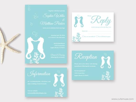 Beach Wedding Invitation Printable Seahorse Wedding Destination