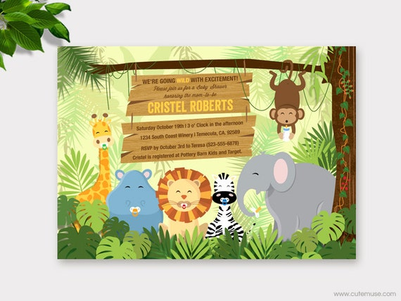 Jungle Baby Shower Invitation Printable Safari Baby Shower