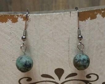Earrings, Frosted African Turquoise Earrings, Simple Earrings, Earrings, Natural Stone - 1 Pair