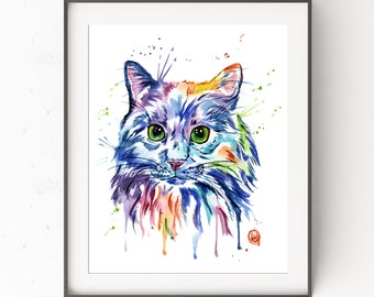 Cat Print, Animal Portraits, Cat Artwork, Pet Love, Gifts For Cat Lovers, Cats, Cat Art, Cat Gifts, Watercolour, Pet Art, Cat Poster