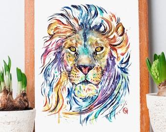 Wall Art art Home Decor Original Artwork print Art Print Dog and lion