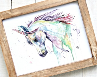 Unicorn watercolor print, Unicorn Art, Girls room, Fairy art, Unicorn Painting, Mythical, Unicorn Theme, gift for her, baby girl gift