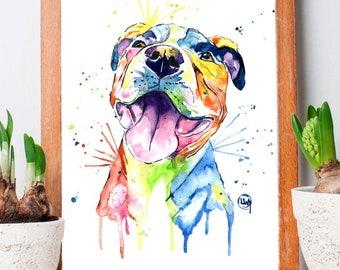 Pitbull Painting, Pitbull Art, Pit Bull, Pitbull Dog Art, Pitbull Wall Decor, Wall Art, Colourful Dog Painting, Pet Portrait, Pet Art