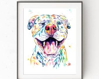 Pitbull Painting Pitbull Art Pit Bull Pitbull Dog Art | Etsy