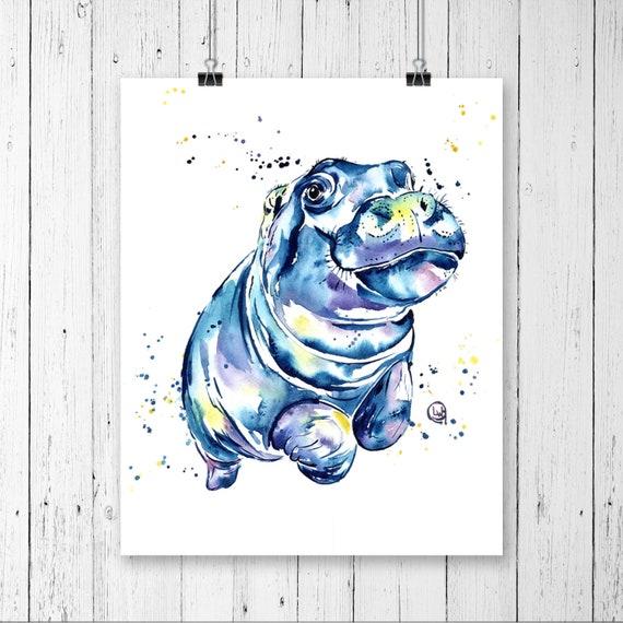 Hippo Painting Hippo Art Happy Art Art Prints Zoo Animals | Etsy