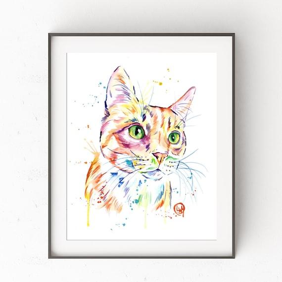 Sky Gazing Cats Folk Cat Art Print 5x7 and 8x10