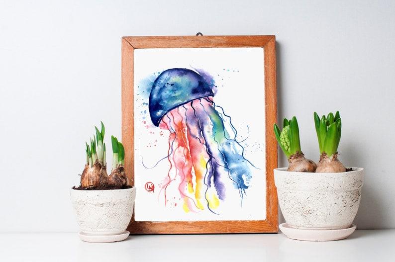 Jellyfish Painting Jellyfish Print Jellyfish Art Jellyfish Etsy