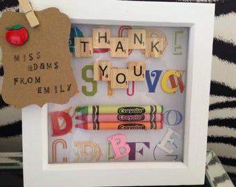 Thank You Teacher - Scrabble Frame  - Scrabble Art - Thank You Gift - Teacher Gift - Nursery Gift
