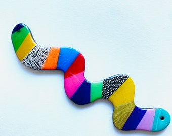 Bright rainbow squiggle statement necklace