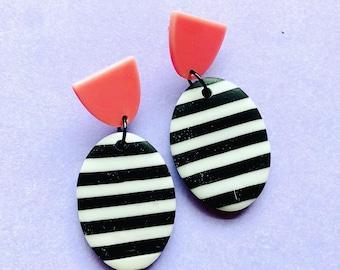 Black and white monochrome stripe earrings