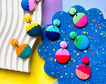 Custom colour combination scallop pattern earrings