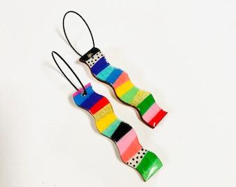 Rainbow & polka dot pattern wood earrings