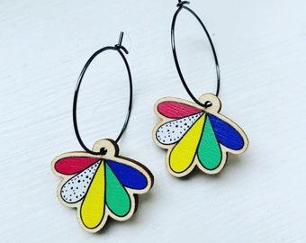 Rainbow flower dangle charm earrings