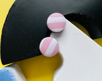 Pink and white stripe polymer clay studs