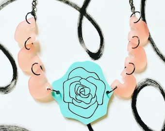 Mint green and pink acrylic rose petal necklace