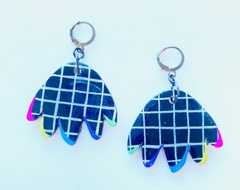 Colourful rainbow grid pattern squiggle shape earrings