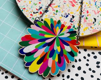 Rainbow burst statement bib necklace