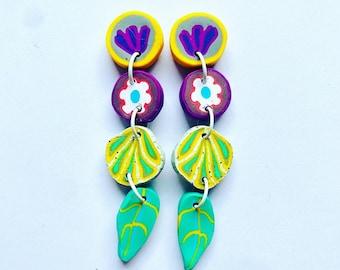 Colourful handmade flower earrings