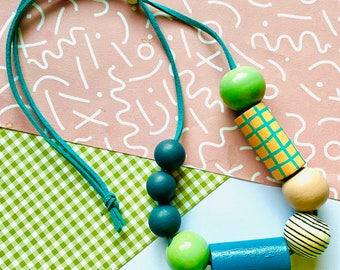 Geometric monochrome wooden bead necklace