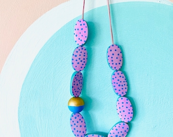 Handmade pink & blue statement long necklace with polka dot bead