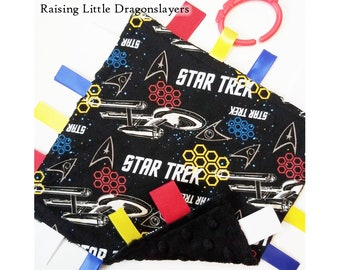 Star Trek - Ribbon tag blanket made w/ Star Trek Enterprise print, infant sensory toy, baby blanket