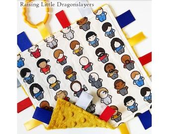 Star Trek - Ribbon tag blanket made w/ Star Trek print, infant sensory toy, baby blanket - GOLD backing