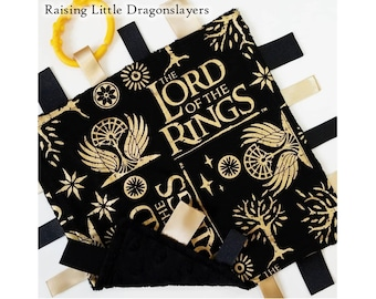 Lord of the Rings - Ribbon tab blanket made w/ LOTR print, infant sensory toy, baby blanket