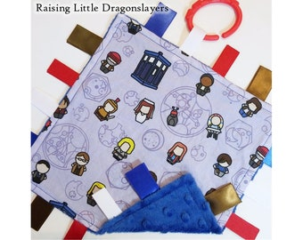 Doctor Who - Ribbon tag blanket made w/ Doctor Who characters print, infant sensory toy, baby blanket